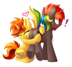 Size: 2173x2053   Tagged: safe, artist:shinodage, oc, oc only, oc:bright ember, oc:krylone, pony, unicorn, blushing, butthug, cute, exclamation point, eyes closed, female, heart, hug, love, male, mare, plot, simple background, snuggling, stallion, straight, surprised, tell me your secrets, transparent background, underhoof