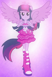 Size: 376x551 | Tagged: safe, screencap, twilight sparkle, equestria girls, equestria girls (movie), boots, element of magic, fall formal outfits, female, high heel boots, outfit catalog, ponied up, ponytail, solo, sparkles, twilight ball dress, twilight sparkle (alicorn), wings