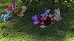 Size: 1920x1080 | Tagged: safe, artist:storm-flash, applejack, fluttershy, pinkie pie, rainbow dash, rarity, twilight sparkle, alicorn, pony, 3d, ball, cloth, cup, female, hat, magic, mane six, mare, mouth hold, nap, picnic, saucer, shadow, twilight sparkle (alicorn)