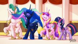 Size: 2560x1440 | Tagged: safe, alternate version, artist:mysticalpha, princess cadance, princess celestia, princess luna, twilight sparkle, alicorn, pony, 16:9, :o, alicorn tetrarchy, eyes closed, female, looking at you, majestic, majestic as fuck, mare, one of these things is not like the others, raised hoof, raised leg, smiling, strutting, twilight sparkle (alicorn), walking