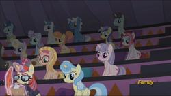 Size: 1920x1080 | Tagged: safe, screencap, cayenne, dark moon, dee six, distant star, electric sky, graphite, honey lemon, minty hearts, miss hackney, moondancer, neon lights, orion, pokey pierce, polo play, rising star, shooting star (character), stella nova, pony, unicorn, the cutie re-mark, background pony, background pony audience, bookseller, discovery family logo, female, las pegasus resident, magic, magic aura, male, mare, stallion, telekinesis