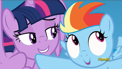 Size: 1920x1080 | Tagged: alicorn, c:, discovery family logo, faic, female, filly, filly rainbow dash, grin, lidded eyes, lip bite, looking away, mare, open mouth, out of context, pony, rainbow dash, safe, screencap, smiling, the cutie re-mark, twilest dashle, twilight is a foal fiddler, twilight sparkle, twilight sparkle (alicorn), wide eyes