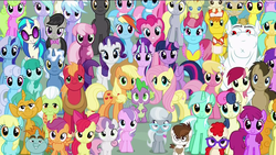 Size: 1920x1080 | Tagged: safe, screencap, aloe, amethyst star, apple bloom, applejack, berry punch, berryshine, big macintosh, bon bon, bulk biceps, carrot cake, carrot top, cheerilee, cloudchaser, cup cake, daisy, derpy hooves, diamond tiara, dj pon-3, doctor whooves, flitter, flower wishes, fluttershy, golden harvest, granny smith, lemon hearts, lily, lily valley, linky, lotus blossom, lyra heartstrings, mayor mare, minuette, octavia melody, pinkie pie, pipsqueak, pokey pierce, pound cake, pumpkin cake, rainbow dash, rarity, roseluck, sassaflash, scootaloo, sea swirl, seafoam, shoeshine, silver spoon, snails, snips, sparkler, spike, spring melody, sprinkle medley, starlight glimmer, sunshower raindrops, sweetie belle, sweetie drops, thunderlane, time turner, twilight sparkle, twinkleshine, twist, vinyl scratch, alicorn, dragon, earth pony, pegasus, pony, unicorn, the cutie re-mark, background six, bowtie, c:, cake family, colt, cowboy hat, cutie mark crusaders, derp, everypony, everypony at s5's finale, female, filly, flower trio, friends are always there for you, glasses, grin, group photo, happy ending, hat, implied doctorrose, looking at you, male, mane seven, mane six, mare, ponies standing next to each other, s5 starlight, smiling, spa twins, stallion, sunglasses, twilight sparkle (alicorn), wall of tags