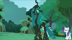 Size: 1920x1080 | Tagged: safe, screencap, queen chrysalis, changeling, changeling queen, the cutie re-mark, alternate timeline, chrysalis resistance timeline, discovery family logo, female
