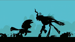 Size: 1920x1080 | Tagged: safe, screencap, queen chrysalis, zecora, changeling, changeling queen, zebra, the cutie re-mark, alternate timeline, badass, charge, chrysalis resistance timeline, epic, female, fight, resistance leader zecora, silhouette, wallpaper