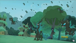 Size: 1366x768 | Tagged: safe, screencap, queen chrysalis, changeling, changeling queen, the cutie re-mark, alternate timeline, changeling officer, chrysalis resistance timeline, discovery family logo, female
