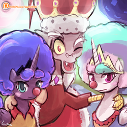 Size: 750x750   Tagged: dead source, safe, artist:lumineko, discord, princess celestia, princess luna, alicorn, draconequus, pony, the cutie re-mark, afro, alternate timeline, blushing, chaotic timeline, clown, clown celestia, clown luna, clown nose, cute, discute, female, frolestia, frown, king discord, looking at you, lunafro, mare, one eye closed, open mouth, patreon, patreon logo, red nose, side hug, smiling, unamused, wink