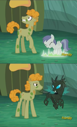Size: 932x1536 | Tagged: safe, screencap, doctor muffin top, horse md, tornado bolt, changeling, earth pony, pony, the cutie re-mark, alternate timeline, chrysalis resistance timeline, cropped, discovery family logo, disguise, disguised changeling
