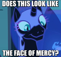 Size: 478x450 | Tagged: alicorn, caption, cute, edit, edited screencap, face of mercy, faic, image macro, meme, moonabetes, moonie snacks, nightmare moon, nightmare takeover timeline, pony, safe, screencap, smiling, solo, the cutie re-mark