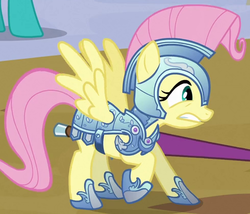 Size: 490x419 | Tagged: safe, screencap, fluttershy, the crystal empire, clothes, costume, crystal guard armor, fantasy class, female, jousting, jousting outfit, knight, outfit catalog, solo, warrior