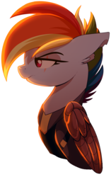 Size: 693x1101 | Tagged: safe, artist:uunicornicc, rainbow dash, pegasus, pony, the cutie re-mark, alternate timeline, amputee, apocalypse dash, artificial wings, augmented, backlighting, bust, clothes, crystal war timeline, eye scar, female, frown, mare, mechanical wing, profile, prosthetic limb, prosthetic wing, prosthetics, scar, simple background, solo, torn ear, transparent background, uniform, wings