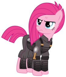 Size: 2600x3000 | Tagged: safe, artist:cheezedoodle96, pinkie pie, pony, the cutie re-mark, .svg available, alternate hairstyle, alternate timeline, ammunition, angry, apinkalypse pie, armor, crystal war timeline, female, injured, mare, pinkamena diane pie, rock, saddle bag, simple background, solo, svg, transparent background, vector
