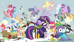 Size: 1200x692 | Tagged: safe, artist:dm29, apple bloom, applejack, big macintosh, bon bon, coco pommel, coloratura, derpy hooves, discord, dj pon-3, doctor whooves, fernando the straw, fluttershy, gilda, lemon hearts, limestone pie, lyra heartstrings, marble pie, maud pie, minuette, moondancer, octavia melody, pinkie pie, princess cadance, rainbow dash, rarity, scootaloo, shining armor, smooze, spike, starlight glimmer, sweetie belle, sweetie drops, time turner, trouble shoes, twilight sparkle, twinkleshine, vinyl scratch, alicorn, griffon, pony, twittermite, amending fences, appleoosa's most wanted, bloom and gloom, brotherhooves social, canterlot boutique, castle sweet castle, crusaders of the lost mark, do princesses dream of magic sheep, hearthbreakers, made in manehattan, make new friends but keep discord, party pooped, princess spike (episode), rarity investigates, scare master, slice of life (episode), tanks for the memories, the cutie map, the cutie re-mark, the hooffields and mccolts, the lost treasure of griffonstone, the mane attraction, the one where pinkie pie knows, what about discord?, alicorn costume, alternate hairstyle, athena sparkle, back to the future, background six, bedroom eyes, bipedal, bowtie, box, cardboard box, charlie brown, clothes, costume, crossdressing, crossing the memes, crying, cutie mark, cutie mark crusaders, derpysaur, detective rarity, dress, drinking straw, fake horn, fake wings, female, filly, final form, fusion, glasses, hat, i didn't listen, i'm pancake, implied rarijack, it happened, lyrabon (fusion), mare, meme, new crown, nightmare night costume, ocular gushers, open mouth, orchard blossom, peanuts, pest control gear, pinkie mcpie, princess dress, punklight sparkle, rara, revolutionary girl utena, s5 starlight, saddle bag, selfie, sled, snow, staff, staff of sameness, sunglasses, sweater, the cmc's cutie marks, the meme concludes, the meme continues, the ride never ends, the story so far of season 5, this is my final form, toilet paper roll, toilet paper roll horn, top hat, twilight muffins, twilight scepter, twilight sparkle (alicorn), unamused, volumetric mouth, wig