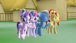 Size: 1920x1080 | Tagged: safe, artist:fusionguybrony, starlight glimmer, sunset shimmer, trixie, twilight sparkle, alicorn, pony, the cutie re-mark, 3d, counterparts, eyes closed, female, gmod, hoofbump, magical quartet, mare, ponyville, twilight sparkle (alicorn), twilight's counterparts