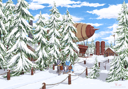 Size: 3000x2100 | Tagged: safe, artist:eriada, trixie, zecora, oc, pony, unicorn, zebra, airship, clothes, coat, female, forest, mare, pine tree, saddle bag, scenery, snow, snowfall, tree, winter