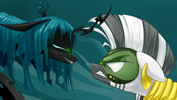 Size: 1920x1080 | Tagged: safe, alternate version, artist:underpable, queen chrysalis, zecora, zebra, the cutie re-mark, alternate timeline, angry, bedroom eyes, chrysalis resistance timeline, face to face, female, floppy ears, gritted teeth, looking at each other, mask, resistance leader zecora, scene interpretation