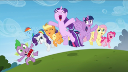 Size: 1920x1080   Tagged: safe, screencap, applejack, fluttershy, pinkie pie, rainbow dash, rarity, spike, starlight glimmer, twilight sparkle, alicorn, dragon, earth pony, pegasus, pony, unicorn, the cutie re-mark, baby, baby dragon, cute, cutie mark, dashabetes, diapinkes, drums, eyes closed, female, field, flying, friends are always there for you, glimmerbetes, grass, happy, jackabetes, jumping, male, mane seven, mane six, mare, musical instrument, open mouth, playing drums, playing instrument, raribetes, s5 starlight, shyabetes, smiling, spikabetes, twilight sparkle (alicorn), yeah shot