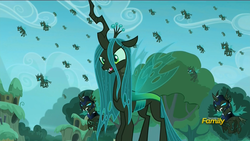 Size: 1920x1080 | Tagged: safe, screencap, queen chrysalis, changeling, changeling queen, the cutie re-mark, alternate timeline, armor, changeling officer, chrysalis resistance timeline, discovery family logo, female, flying