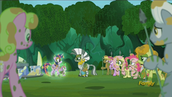 Size: 1280x720 | Tagged: safe, screencap, berry punch, berryshine, carrot top, coco crusoe, daisy, flower wishes, fluttershy, golden harvest, pinkie pie, spike, twilight sparkle, zecora, alicorn, pony, zebra, the cutie re-mark, alternate timeline, chrysalis resistance timeline, discovery family logo, female, mare, resistance leader zecora, twilight sparkle (alicorn)