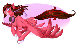 Size: 1024x611 | Tagged: safe, artist:limply_swamp, oc, oc only, oc:snowlight, pegasus, commission, flying, goggles, large wings, looking up, pegasus oc, wings