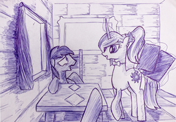 Size: 1075x750 | Tagged: safe, artist:inkygarden, princess celestia, ballpoint pen, menu, monochrome, pointing, race swap, restaurant, sketch, surprised, traditional art