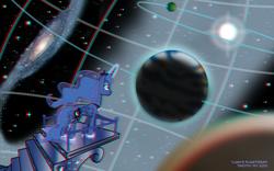 Size: 1440x900 | Tagged: safe, artist:tim-kangaroo, princess luna, 3d, anaglyph 3d, planetarium, solo