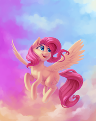 Size: 2850x3600 | Tagged: artist:verulence, cloud, cute, featured image, female, fluttershy, flying, head turn, high res, looking away, looking up, mare, open mouth, pegasus, pony, raised hoof, safe, shyabetes, sky, smiling, solo, spread wings, wings