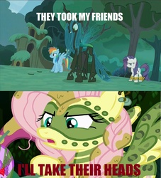Size: 1066x1172 | Tagged: safe, screencap, fluttershy, queen chrysalis, rainbow dash, rarity, changeling, changeling queen, the cutie re-mark, alternate timeline, chrysalis resistance timeline, discovery family logo, female, image macro, meme, tribal, tribalshy