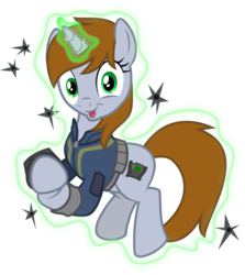Size: 1500x1684 | Tagged: safe, artist:brisineo, oc, oc only, oc:littlepip, pony, unicorn, fallout equestria, the cutie re-mark, bullet hole, clapping, clothes, faic, fanfic, fanfic art, female, floating, glowing horn, hooves, horn, imperial stormtrooper marksmanship, levitation, magic, mare, open mouth, pipbuck, self-levitation, simple background, solo, starlight says bravo, telekinesis, transparent background, vault suit, vector