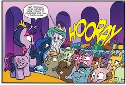 Size: 1317x887 | Tagged: safe, artist:jay fosgitt, princess celestia, princess luna, twilight sparkle, alicorn, pony, turkey, idw, spoiler:comic, spoiler:comicff22, dan, female, mare, meat, ponies eating meat, twilight sparkle (alicorn)