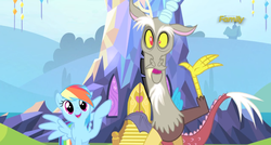 Size: 1364x730 | Tagged: safe, screencap, discord, rainbow dash, draconequus, pegasus, pony, what about discord?, cute, dashabetes, discute, duo, duo male and female, female, male, mare, open mouth, smiling