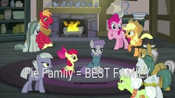 Size: 1920x1080 | Tagged: safe, derpibooru exclusive, apple bloom, applejack, big macintosh, cloudy quartz, granny smith, igneous rock pie, limestone pie, marble pie, maud pie, pinkie pie, earth pony, pony, hearthbreakers, image macro, male, marblemac, meme, op is a duck, op is trying to start shit, opinion, pie family, pie sisters, quartzrock, shipping, siblings, sisters, stallion, straight