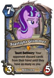 Size: 400x573 | Tagged: card, crossover, hearthstone, pony, safe, starlight glimmer, trading card, unicorn