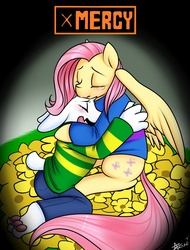 Size: 975x1280 | Tagged: safe, artist:azure-doodle, fluttershy, asriel dreemurr, comforting, crossover, crying, cute, frisk, friskershy, hug, spoilers for another series, undertale