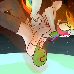 Size: 995x1000 | Tagged: safe, artist:dattebayo681, rainbow dash, oc, oc:anon, pony, atmospheric entry, context is for the weak, earth, fire, german suplex, holding, holding a pony, mask, space, suplex, this will end in pain, wide eyes, wrestling