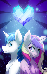 Size: 1800x2800 | Tagged: safe, artist:voxelfyre, princess cadance, shining armor, alicorn, pony, unicorn, chest fluff, crystal heart, duo, husband and wife, smiling