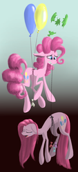 Size: 1024x2265   Tagged: safe, artist:elskafox, artist:kopaleo, pinkie pie, balloon, balloon popping, crying, hanging, pinkamena diane pie, popping, sad, then watch her balloons lift her up to the sky
