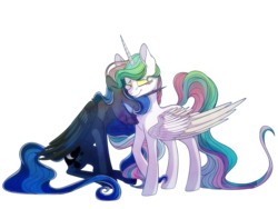 Size: 8000x6000 | Tagged: absurd res, artist:elskafox, eyes closed, neck nuzzle, nuzzling, princess celestia, princess luna, safe, simple background, sisters, transparent background