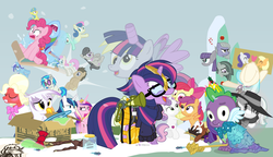 Size: 1200x692 | Tagged: safe, artist:dm29, apple bloom, applejack, big macintosh, bon bon, coco pommel, derpy hooves, dj pon-3, doctor whooves, gilda, lemon hearts, limestone pie, lyra heartstrings, marble pie, maud pie, minuette, moondancer, octavia melody, pinkie pie, princess cadance, rainbow dash, rarity, scootaloo, shining armor, smooze, spike, sweetie belle, sweetie drops, time turner, trouble shoes, twilight sparkle, twinkleshine, vinyl scratch, alicorn, griffon, pony, twittermite, amending fences, appleoosa's most wanted, bloom and gloom, brotherhooves social, canterlot boutique, castle sweet castle, crusaders of the lost mark, do princesses dream of magic sheep, hearthbreakers, made in manehattan, make new friends but keep discord, party pooped, princess spike (episode), rarity investigates, scare master, slice of life (episode), tanks for the memories, the cutie map, the lost treasure of griffonstone, the one where pinkie pie knows, alicorn costume, alternate hairstyle, athena sparkle, background six, bedroom eyes, bowtie, box, cardboard box, charlie brown, clothes, costume, crossdressing, crossing the memes, crying, cutie mark, cutie mark crusaders, derpysaur, detective rarity, dress, fake horn, fake wings, female, filly, fusion, glasses, hat, i didn't listen, i'm pancake, implied rarijack, it happened, lyrabon (fusion), mare, meme, new crown, nightmare night costume, ocular gushers, orchard blossom, peanuts, pest control gear, princess dress, punklight sparkle, revolutionary girl utena, sled, snow, staff, staff of sameness, sweater, the cmc's cutie marks, the meme continues, the ride never ends, the story so far of season 5, this isn't even my final form, toilet paper roll, toilet paper roll horn, top hat, twilight muffins, twilight scepter, twilight sparkle (alicorn), unamused, volumetric mouth, wig