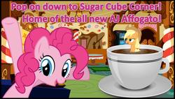 Size: 1245x705 | Tagged: safe, artist:phucknuckl, applejack, pinkie pie, pony, affogato, coffee, cup of pony, image macro, meme, sugarcube corner, wet mane