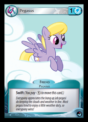 Size: 359x500 | Tagged: background pony, card, ccg, cloud kicker, enterplay, fanfic reference, female, high magic, mare, pegasus, pony, safe, smiling, solo, spread wings, token, trading card