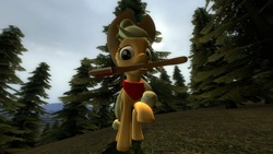 Size: 1366x768 | Tagged: safe, artist:themox, applejack, 3d, axe, clothes, gmod, looking at you, mouth hold, scarf, solo