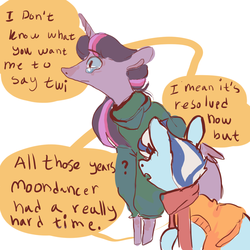 Size: 1000x1000   Tagged: safe, artist:let-the-rainbow-remind-us, minuette, twilight sparkle, alicorn, pony, clothes, comic, crying, dialogue, female, implied moondancer, lesbian, mare, sad, scarf, shipping, twigate, twilight sparkle (alicorn), twinuette