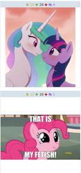 Size: 305x650 | Tagged: derpibooru, juxtaposition, lesbian, meta, pinkie pie, princess celestia, safe, shipping, that is my fetish, twilestia, twilight sparkle