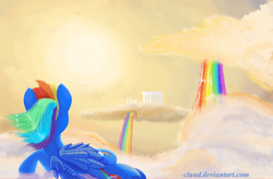 Size: 3000x1962 | Tagged: safe, artist:cluud, rainbow dash, city, cloud, cloudsdale, female, harmony, rainbows, scenery, sky, solo, sunset, twilight (astronomy), waterfall
