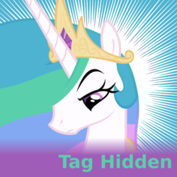 Size: 500x500 | Tagged: safe, artist:the smiling pony, princess celestia, alicorn, pony, derpibooru, lesson zero, .svg available, daily derpiation, featured image, female, frown, hair over one eye, lidded eyes, looking down, mare, meta, official spoiler image, raised eyebrow, solo, spoilered image joke, svg, tag hidden, unamused, unimpressed, vector
