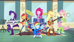 Size: 1280x720 | Tagged: safe, screencap, applejack, fluttershy, pinkie pie, rainbow dash, rarity, sunset shimmer, equestria girls, friendship games, balloon, bass guitar, boots, bracelet, clothes, cowboy boots, drums, electric guitar, female, guitar, high heel boots, jewelry, keytar, musical instrument, ponied up, ponytail, skirt, socks, tambourine, the rainbooms, wings