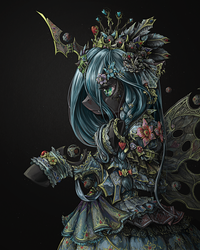 Size: 1200x1500 | Tagged: safe, artist:saturnspace, queen chrysalis, changeling, changeling queen, bipedal, bracelet, braid, clothes, costume porn, crown, detailed, dress, epic, fangs, featured image, female, flower, flower in hair, frilly dress, frown, heart, jewelry, photoshop, portrait, simple background, solo, steampunk, technically advanced