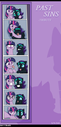 Size: 1080x2230 | Tagged: safe, artist:droll3, twilight sparkle, oc, oc:nyx, alicorn, pony, unicorn, fanfic:past sins, :<, :i, :o, :p, accessory swap, cute, derp, digital art, duo, face, face doodle, female, filly, glasses, grin, horn, hug, lip bite, looking at you, mare, me gusta, mother and child, mother and daughter, nyxabetes, open mouth, photo booth, picture, silly, smiling, squee, squishy cheeks, tongue out, twiabetes, unicorn twilight, wings, wink