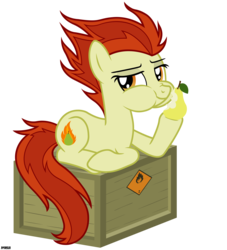 Size: 3900x4300 | Tagged: safe, artist:a4r91n, oc, oc only, oc:para focului, earth pony, pony, crate, eating, flammable, looking at you, pear, simple background, sitting, transparent background, vector
